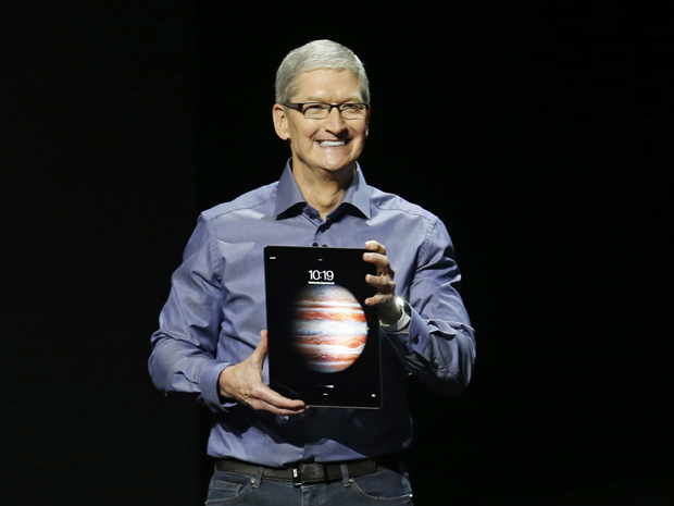 Apple CEO Tim Cook introduces the new iPad Pro during an Apple media event in San Francisco, California